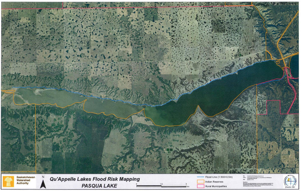 Pasqua Lake Flood Risk Map - Flood line map